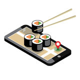 Ciudad isométrica Entrega de la comida Sushi Búsqueda móvil Seguimiento de Geo correspondencia Ciudad isométrica Entrega de la co Foto de archivo