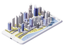 Ciudad isométrica del vector en la pantalla del smartphone Fotografía de archivo