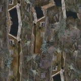 Ciudad italiana Modelo inconsútil de la pintura al óleo Ciudad vieja fotografía de archivo