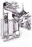 Ciudad japonesa Bosquejo en tinta stock de ilustración