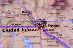 Ciudad Juà ¡ rez和埃尔帕索地图的 库存图片