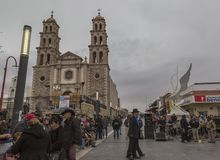 CIUDAD JUAREZ-CHIHUAHUA-MEXICO-MARCH-2019: This cathedral was built in the middle of the second half of the 20th century. stock photography