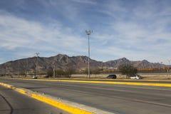 CIUDAD JUAREZ-CHIHUAHUA-MEXIKO-JANUARY-2019: Ansicht Montana Franklins gelegen im Texas-Durchlauf, einfassendes Mexiko stockbild