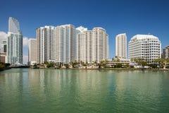 Ciudad de los edificios céntricos de Miami la Florida Imágenes de archivo libres de regalías