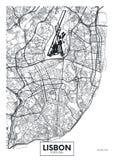 Ciudad Lisboa del mapa del cartel del vector ilustración del vector