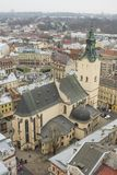 Ciudad Lviv de la altura del vuelo del pájaro Imágenes de archivo libres de regalías