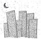 Ciudad a mano del vector Imagen de archivo libre de regalías