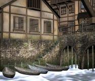 Ciudad medieval con los barcos stock de ilustración
