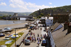 Ciudad medieval de Conwy fotos de archivo