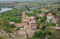 Ciudad medieval española Miravet Foto de archivo