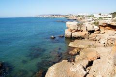 Ciudad mediterránea de Vinaroz en España imagenes de archivo