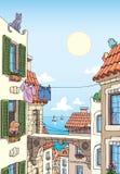 Ciudad mediterránea vieja cerca del mar.