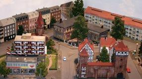 Ciudad miniatura del modelo de escala Imágenes de archivo libres de regalías