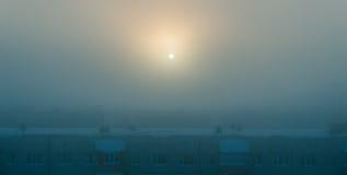Ciudad misteriosa del invierno imágenes de archivo libres de regalías