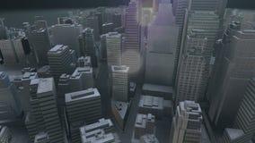 Ciudad moderna adentro en ninguna parte entre las rocas redondas en la noche libre illustration
