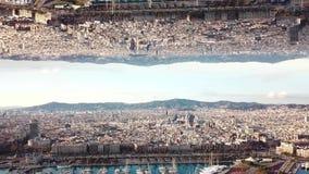 Ciudad moderna con efecto del espejo existencias Vista superior del paisaje grande de la ciudad con el efecto de realidades paral metrajes