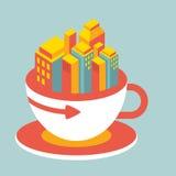 Ciudad moderna del ejemplo del volumen en la taza de café Imagen de archivo libre de regalías
