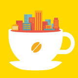 Ciudad moderna del ejemplo plano del estilo en la taza de café Foto de archivo