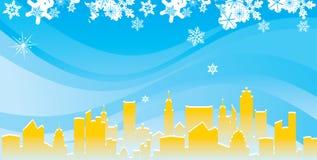 Ciudad moderna en invierno stock de ilustración