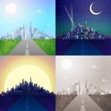 Ciudad moderna en la escena plana del horizonte fijada: día, noche, puesta del sol, sepia Fotografía de archivo