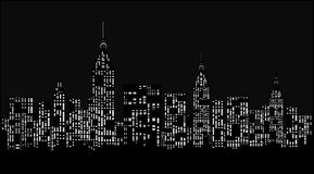 Ciudad moderna en la noche. stock de ilustración