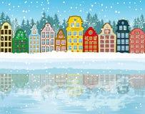 Ciudad multicolora de la Navidad Fotografía de archivo libre de regalías