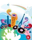 Ciudad musical abstracta Fotografía de archivo libre de regalías