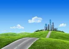 Ciudad muy detallada 7000px en horizonte Fotografía de archivo libre de regalías