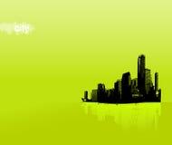 Ciudad negra en fondo verde libre illustration