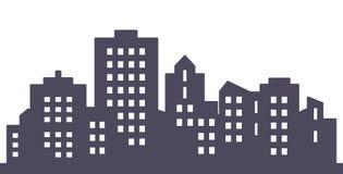 Ciudad negra, silueta de casas, EPS stock de ilustración