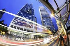 Ciudad. Noche de Hong-Kong. Fotos de archivo
