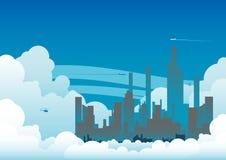 Ciudad nublada Fotografía de archivo libre de regalías