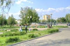 Ciudad Oryol Escritor cuadrado Nikolai Leskov foto de archivo