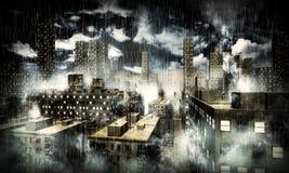 Ciudad oscura Imágenes de archivo libres de regalías