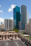Ciudad paisaje urbano céntrico de los edificios de Miami, la Florida Fotos de archivo libres de regalías
