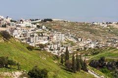 Ciudad palestina en el suburbio de Jerusalén. Foto de archivo libre de regalías