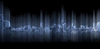 Ciudad panorámica azul en el fondo negro, conexión de la ciudad de la tecnología fotos de archivo libres de regalías