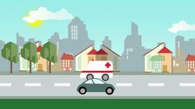 Ciudad panorámica de la historieta plana con la calle y los coches almacen de video