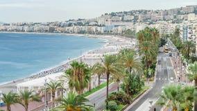 Ciudad panorámica hermosa de la visión aérea Niza del timelapse, Francia Mar Mediterráneo, bahía de ángeles almacen de video