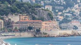 Ciudad panorámica hermosa de la visión aérea Niza del timelapse, Francia Mar Mediterráneo, bahía de ángeles almacen de metraje de vídeo