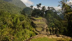 Helicopter on the Ciudad Perdida aka the Lost City in Colombia. Ciudad Perdida aka the Lost City in Colombia. Tayrona culture stock photography