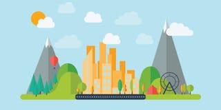 Ciudad plana de la montaña del diseño ilustración del vector