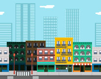 Ciudad plana del diseño de la ciudad del concepto inconsútil de la calle Imagenes de archivo