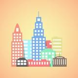 Ciudad plana del estilo en fondo anaranjado Fotos de archivo libres de regalías