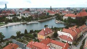 Ciudad polaca famosa Wroclaw almacen de metraje de vídeo