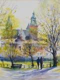 Ciudad polaca Kraków en la lluvia watercolors stock de ilustración