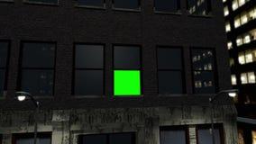 Ciudad por noche con la pantalla verde stock de ilustración