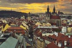 Ciudad Pragua en Checo Foto de archivo libre de regalías