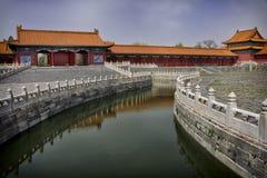 Ciudad prohibida Pekín: canal a través del complejo. Foto de archivo