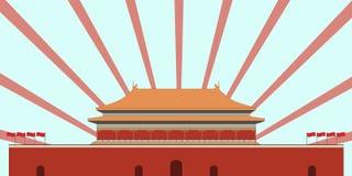 Ciudad prohibida Puerta de la paz celeste Cuadrado de Beijing Beijin stock de ilustración